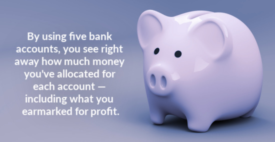 By using five bank accounts, you see right away how much money you've allocated for each account — including what you earmarked for profit.